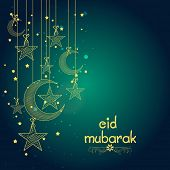 picture of crescent  - Elegant greeting card design decorated with creative hanging crescent moons and stars for famous festival of Muslim community - JPG