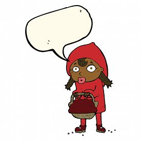 stock photo of little red riding hood  - little red riding hood cartoon with speech bubble - JPG