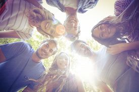 picture of huddle  - Happy friends huddling in circle in the park on a sunny day - JPG