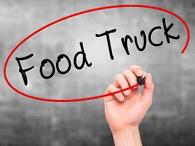image of food truck  - Man Hand writing Food Truck with black marker on visual screen - JPG