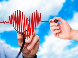 picture of beating-heart  - Closeup portrait doctor hand listening to heart beat in heart shape with stethoscope - JPG