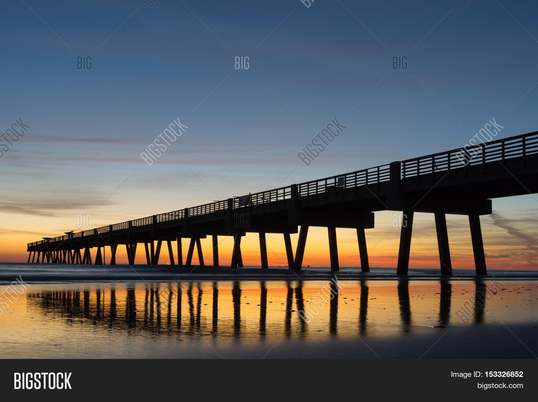 Jacksonville Beach Fishing Pier Image Photo Bigstock
