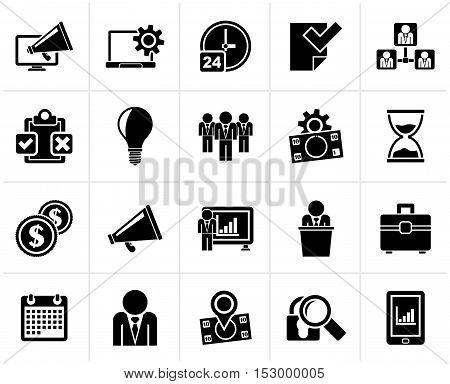 Black Business management concept icons - vector icon set