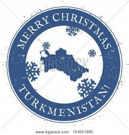 Turkmenistan Map. Vintage Merry Christmas Turkmenistan Stamp. Stylised Rubber Stamp With County Map