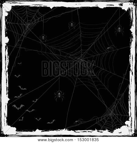 Abstract Halloween background with black spiders, cobwebs and flying bats, holiday theme with grunge decoration, illustration.