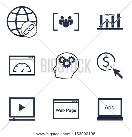 Set Of Advertising Icons On Digital Media, Keyword Optimisation And Video Player Topics. Editable Ve