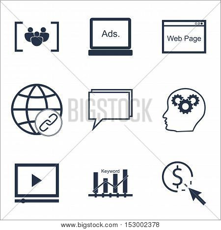 Set Of Advertising Icons On Ppc, Questionnaire And Brain Process Topics. Editable Vector Illustratio