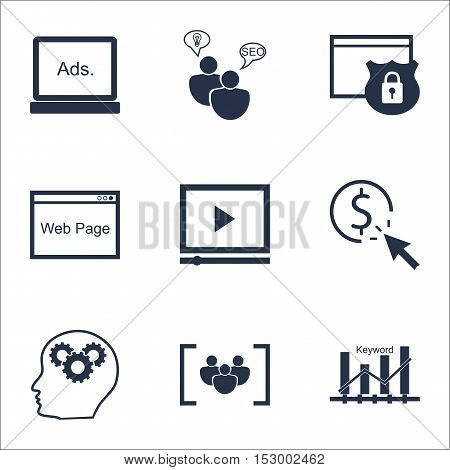 Set Of Marketing Icons On Website, Video Player And Security Topics. Editable Vector Illustration. I
