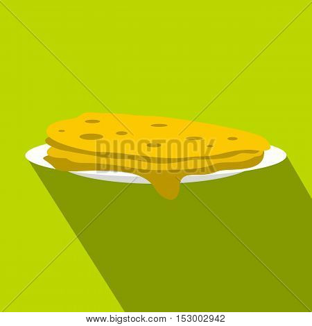 A stack of fried pancakes icon. Flat illustration of pancakes vector icon for web design
