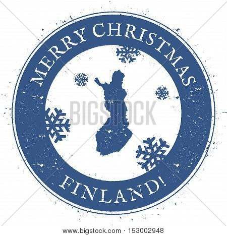 Finland Map. Vintage Merry Christmas Finland Stamp. Stylised Rubber Stamp With County Map And Merry