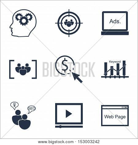 Set Of Advertising Icons On Ppc, Website And Seo Brainstorm Topics. Editable Vector Illustration. In