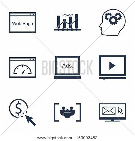 Set Of Advertising Icons On Brain Process, Newsletter And Loading Speed Topics. Editable Vector Illu