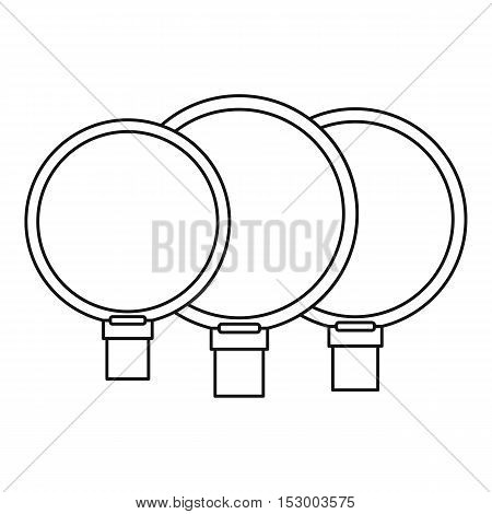 Camera lenses icon. Outline illustration of camera lenses vector icon for web