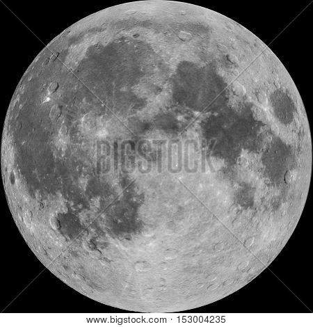 Full Moon photo combined with illustrated craters isolated on black background