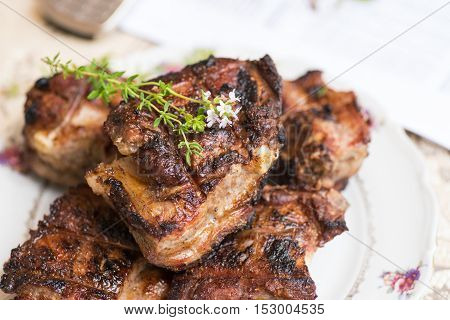Grilled Pork Ribs With Thyme And Spicy Honey Sauce