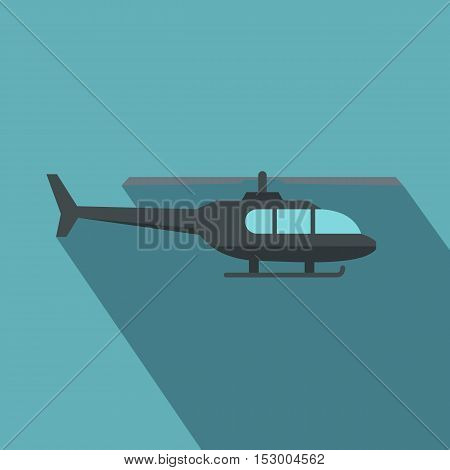 Military helicopter icon. Flat illustration of military helicopter vector icon for web isolated on light blue background