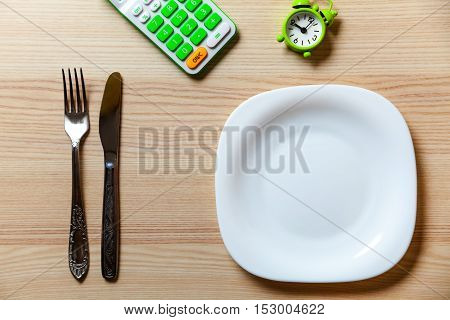 Dietetic extended set on a wooden table