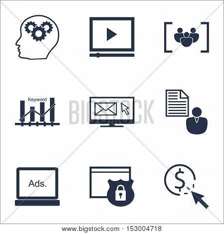 Set Of Marketing Icons On Digital Media, Ppc And Brain Process Topics. Editable Vector Illustration.