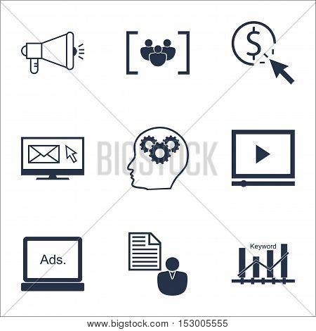 Set Of Marketing Icons On Keyword Optimisation, Digital Media And Video Player Topics. Editable Vect