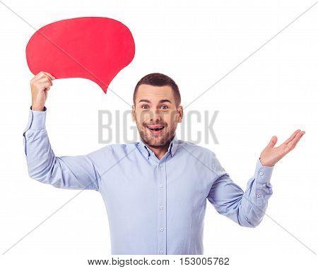 Businessman With Speech Bubbles