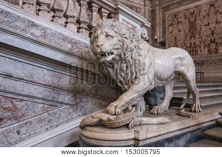 Caserta Italy - August 29 2016: Marble lion at the Grand Staircase - the symbol of the Royal Palace of Caserta