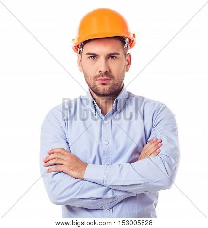 Handsome Architect In Helmet
