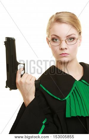 Law court or justice concept. Woman barrister lawyer wearing classic polish black green gown with weapon gun isolated on white. Crime