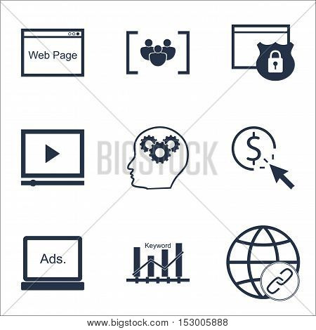 Set Of Marketing Icons On Brain Process, Ppc And Keyword Optimisation Topics. Editable Vector Illust