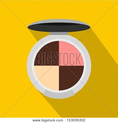 Cosmetics rouge icon. Flat illustration of cosmetics rouge vector icon for web isolated on yellow background