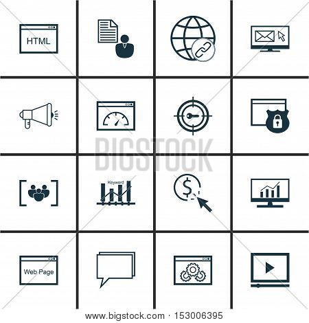 Set Of Marketing Icons On Ppc, Video Player And Market Research Topics. Editable Vector Illustration