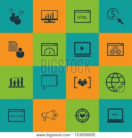 Set Of Marketing Icons On Loading Speed, Website And Conference Topics. Editable Vector Illustration