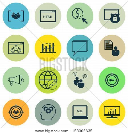 Set Of Marketing Icons On Coding, Website Performance And Market Research Topics. Editable Vector Il