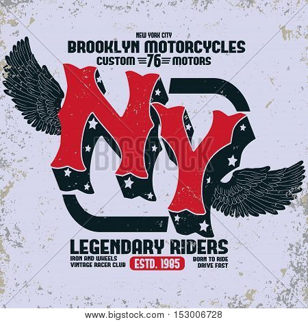Motorcycle Brooklyn t-shirt print, new york motorbike tee graphic, biker fashion graphic design. Racing emblem