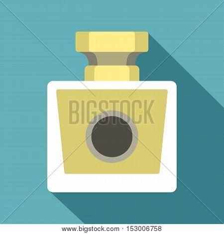 Perfume bottle icon. Flat illustration of perfume bottle vector icon for web isolated on light blue background