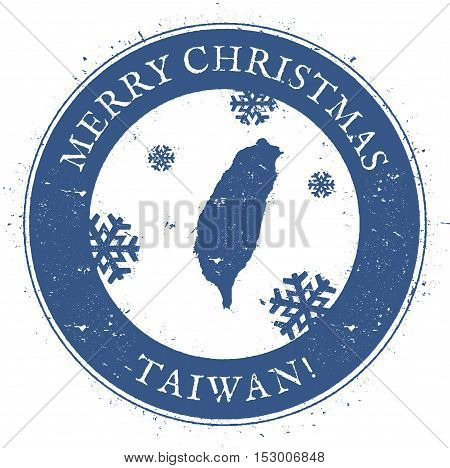 Taiwan, Republic Of China Map. Vintage Merry Christmas Taiwan, Republic Of China Stamp. Stylised Rub