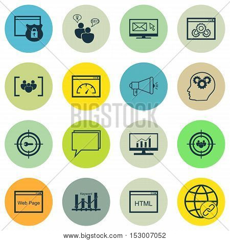 Set Of Marketing Icons On Brain Process, Media Campaign And Security Topics. Editable Vector Illustr