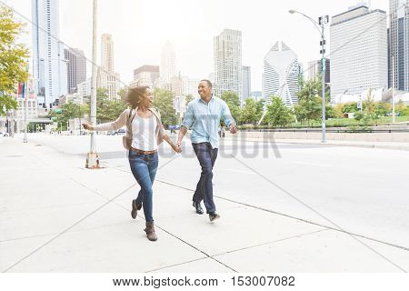 Happy Black Couple Having Fun Together In Chicago
