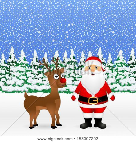 Santa Claus and Christmas reindeer are standing in a snowy forest, vector illustration