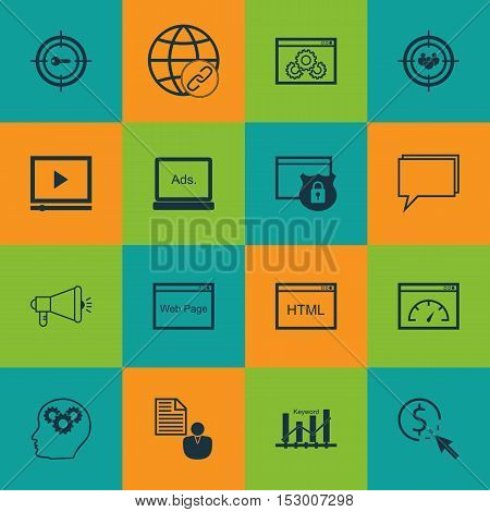 Set Of Advertising Icons On Security, Website Performance And Video Player Topics. Editable Vector I