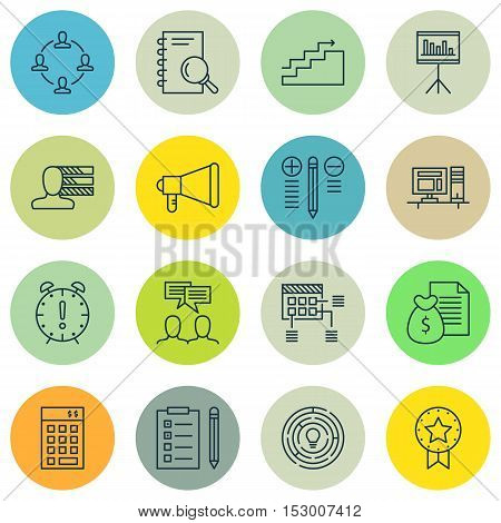 Set Of Project Management Icons On Computer, Analysis And Schedule Topics. Editable Vector Illustrat