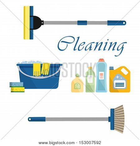 Cleaning time concept. Flat illustration. There is a bucket, mop, detergents and other cleaning products in the picture. It can be used for the websites, banners, typographical products