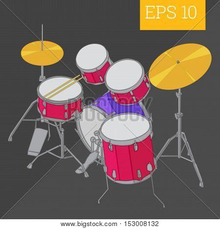 Drum Kit Isometric Vector Illustration