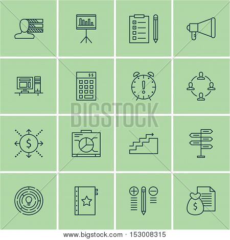 Set Of Project Management Icons On Computer, Reminder And Investment Topics. Editable Vector Illustr