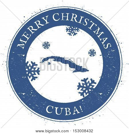 Cuba Map. Vintage Merry Christmas Cuba Stamp. Stylised Rubber Stamp With County Map And Merry Christ