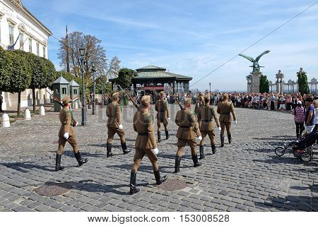 BUDAPEST HUNGARY - SEPTEMBER 29 2016: Changing of the Guard near the presidential palace in Budapest