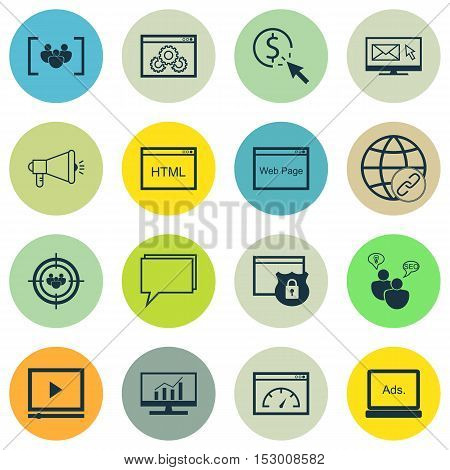 Set Of Seo Icons On Questionnaire, Website Performance And Connectivity Topics. Editable Vector Illu