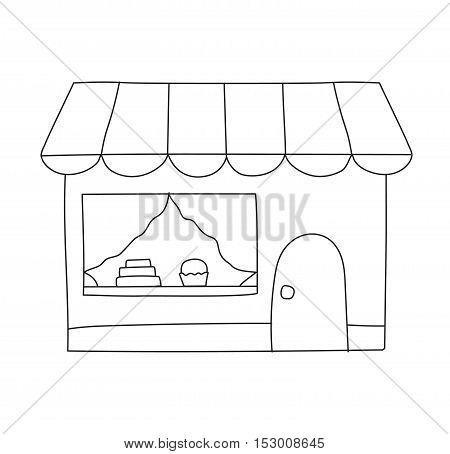 Vector flat design shop facade isolated. Some shop facade isolated on white background.