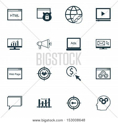 Set Of Marketing Icons On Coding, Media Campaign And Website Topics. Editable Vector Illustration. I