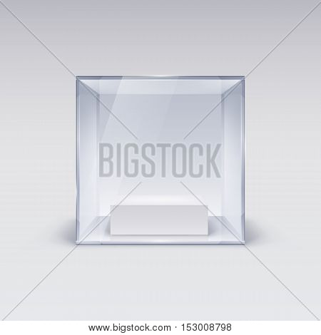 Glass Showcase in Cube Form for Presentation on white Background