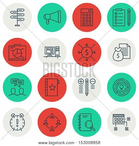 Set Of Project Management Icons On Reminder, Money And Schedule Topics. Editable Vector Illustration